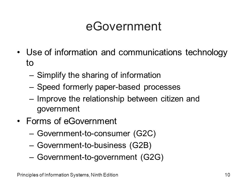 eGovernment Use of information and communications technology to