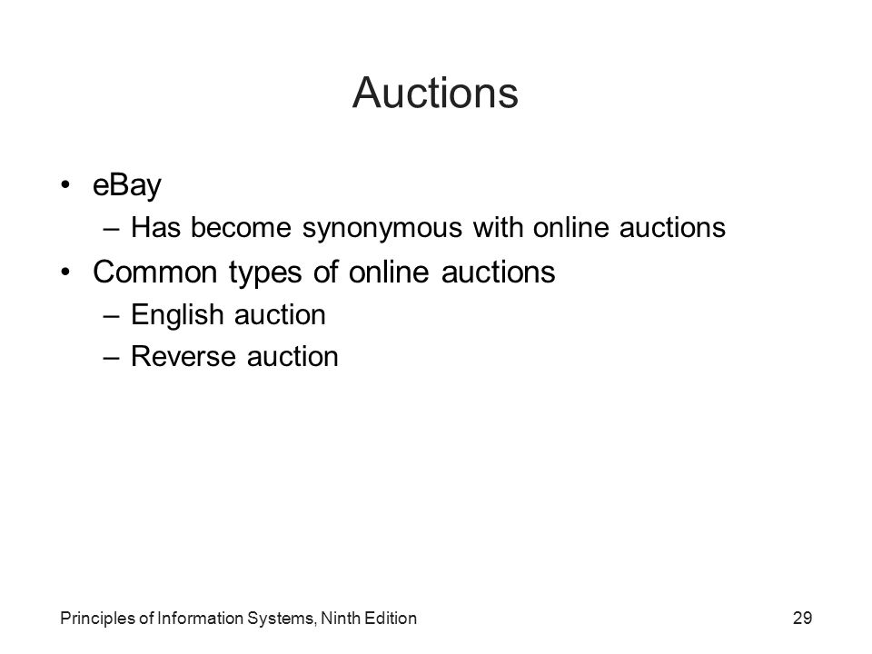 Auctions eBay Common types of online auctions