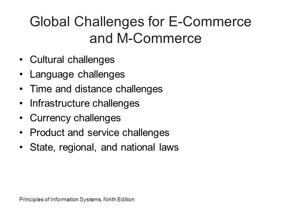 Global Challenges for E-Commerce and M-Commerce