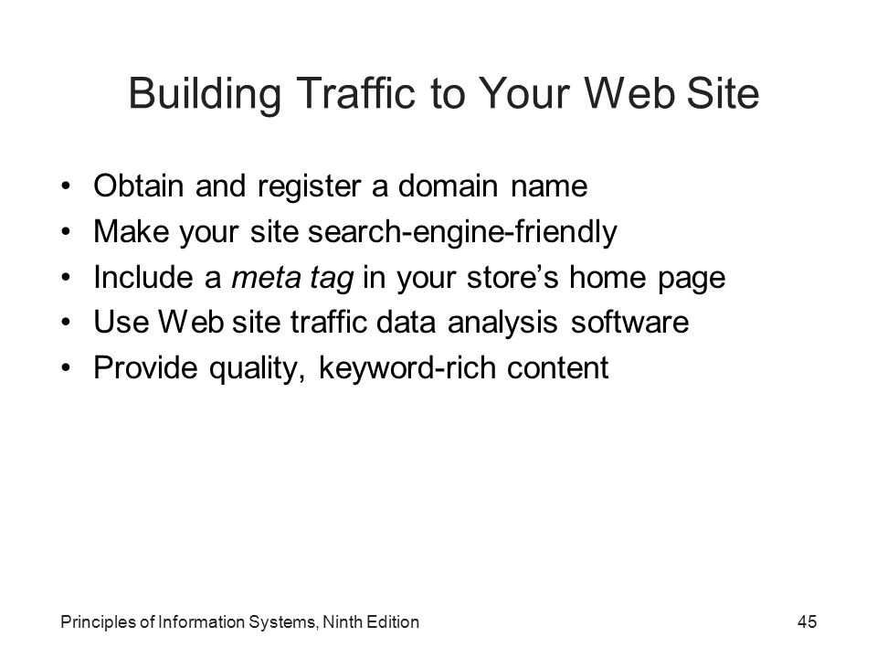 Building Traffic to Your Web Site