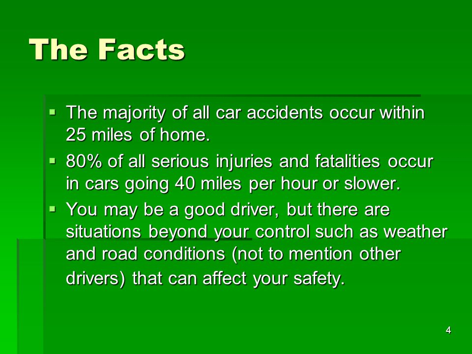 The Facts The majority of all car accidents occur within 25 miles of home.