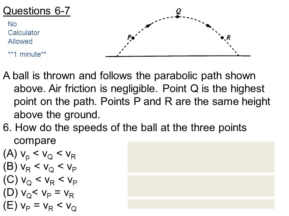 6. How do the speeds of the ball at the three points compare