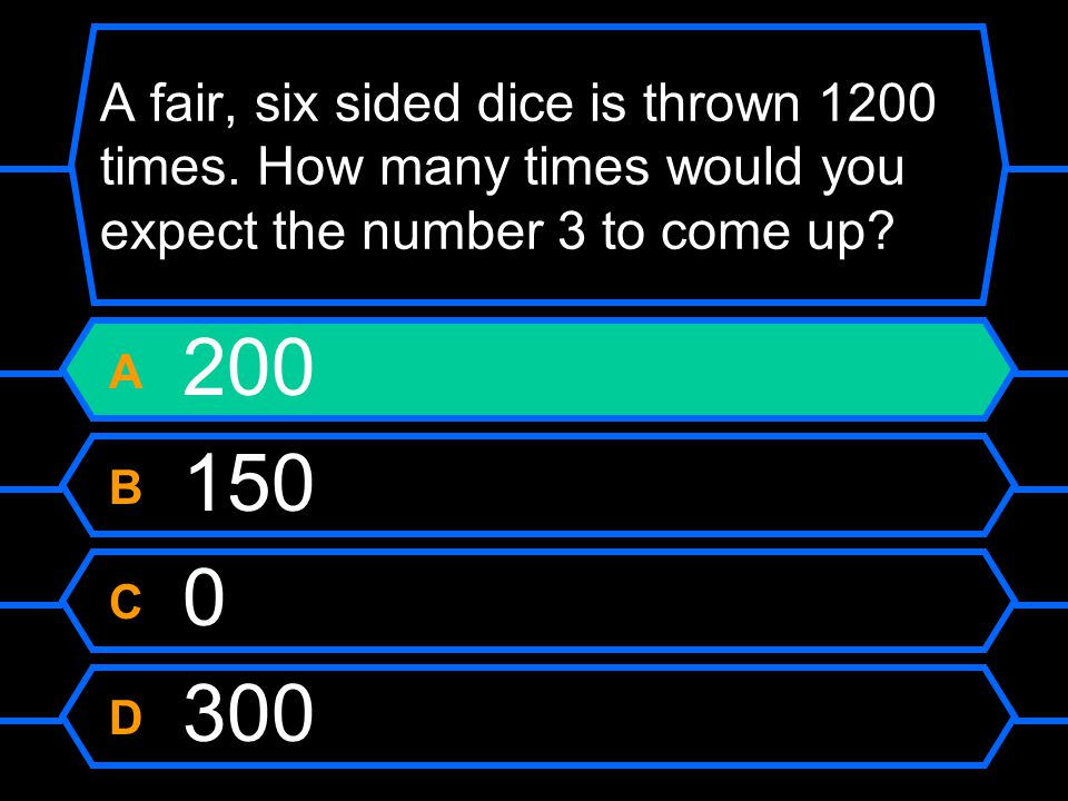 A fair, six sided dice is thrown 1200 times