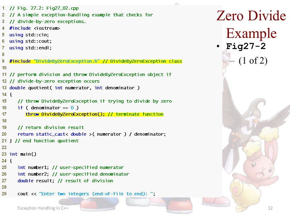 Zero Divide Example Fig27-2 (1 of 2) Exception Handling in C++
