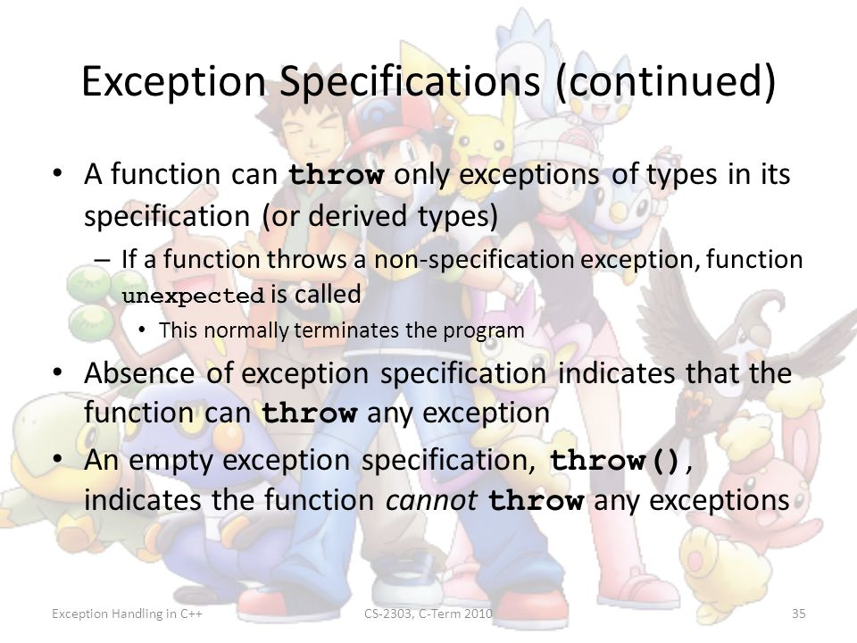 Exception Specifications (continued)