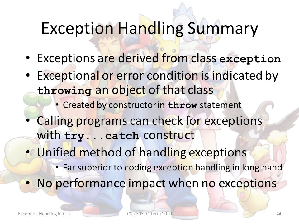 Exception Handling Summary