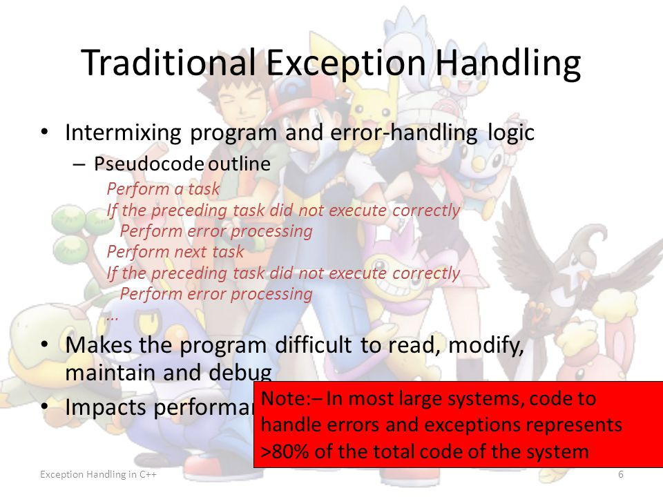 Traditional Exception Handling