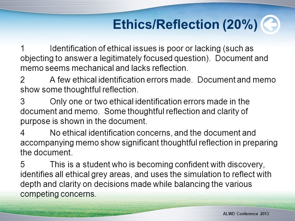 Ethics/Reflection (20%)