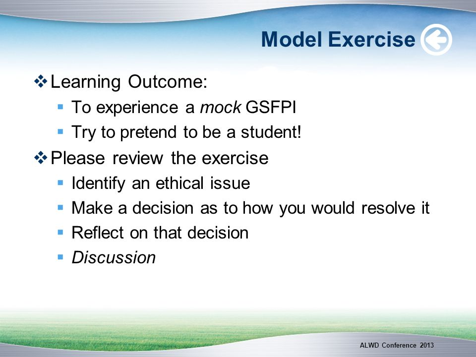 Model Exercise Learning Outcome: Please review the exercise