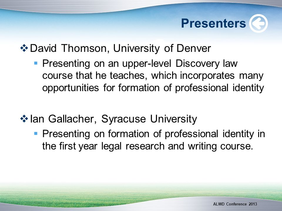 Presenters David Thomson, University of Denver