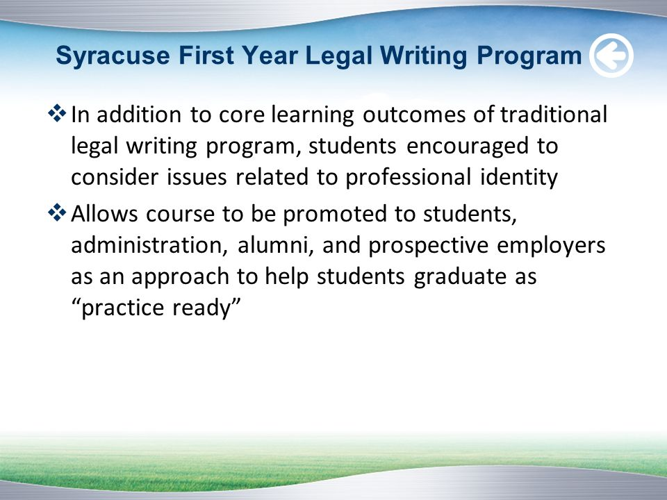 Syracuse First Year Legal Writing Program