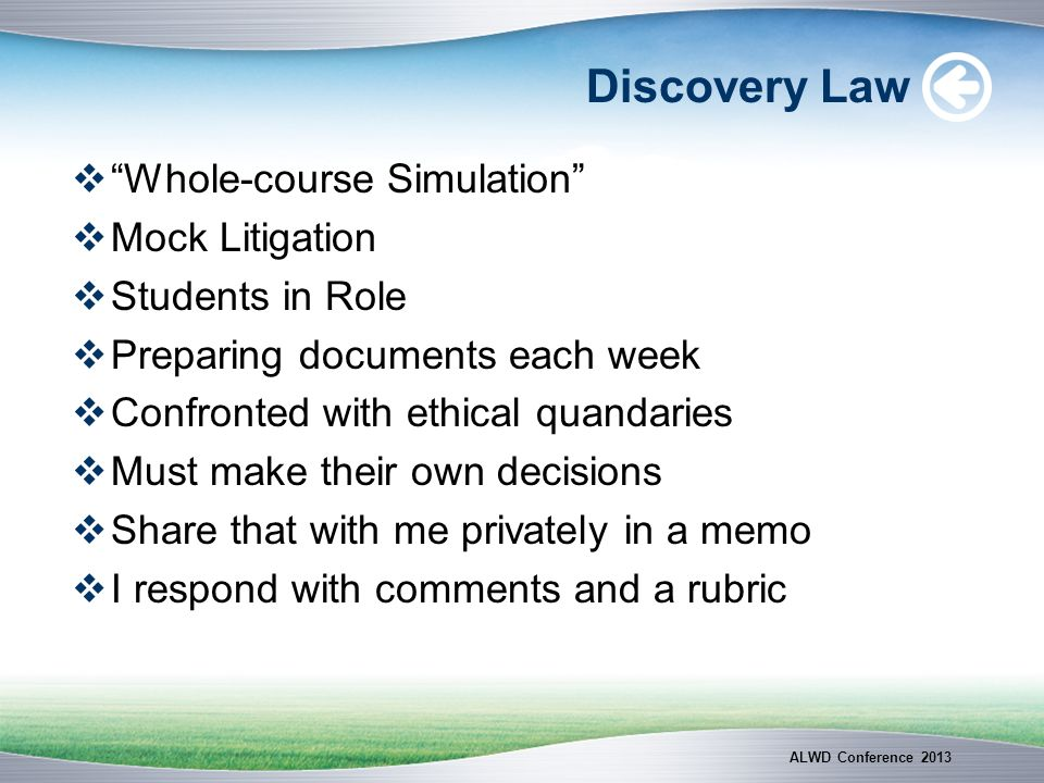 Discovery Law Whole-course Simulation Mock Litigation