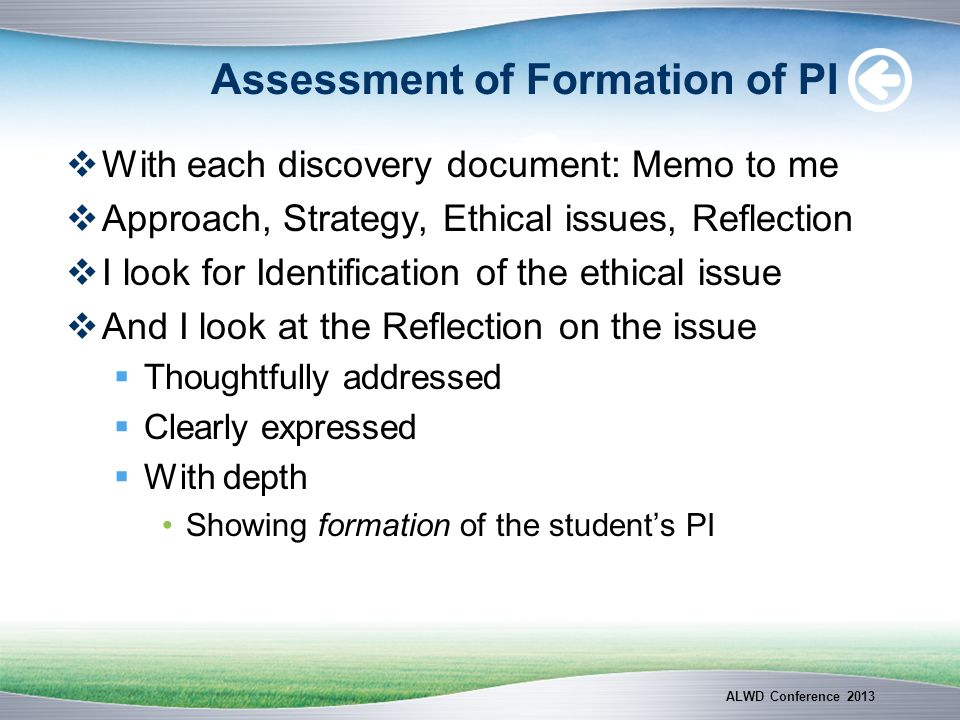 Assessment of Formation of PI