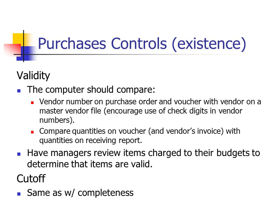 Purchases Controls (existence)