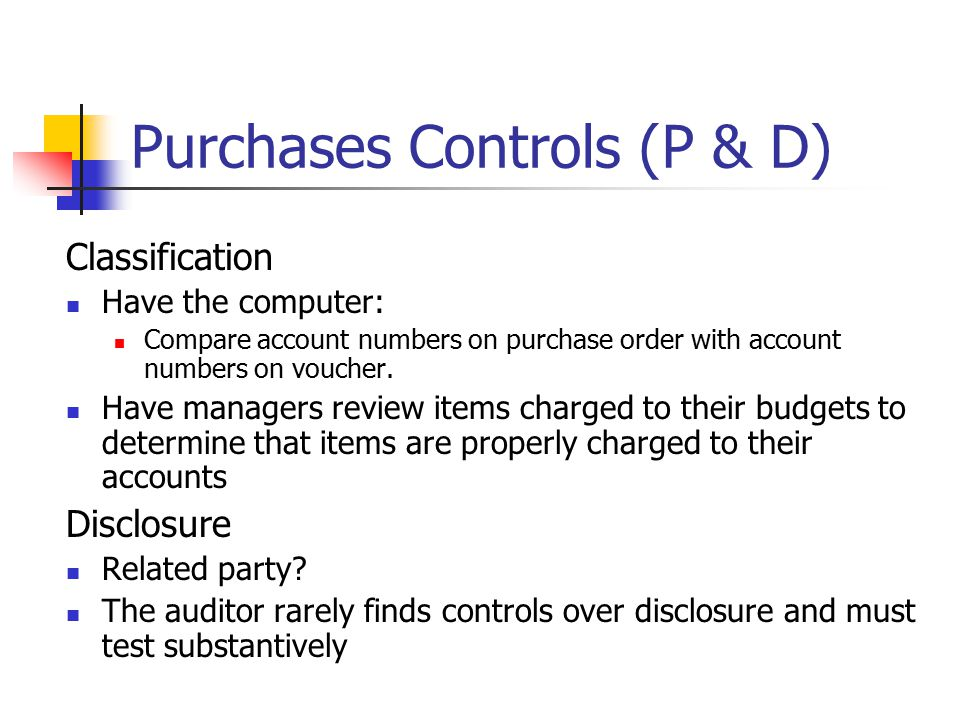 Purchases Controls (P & D)