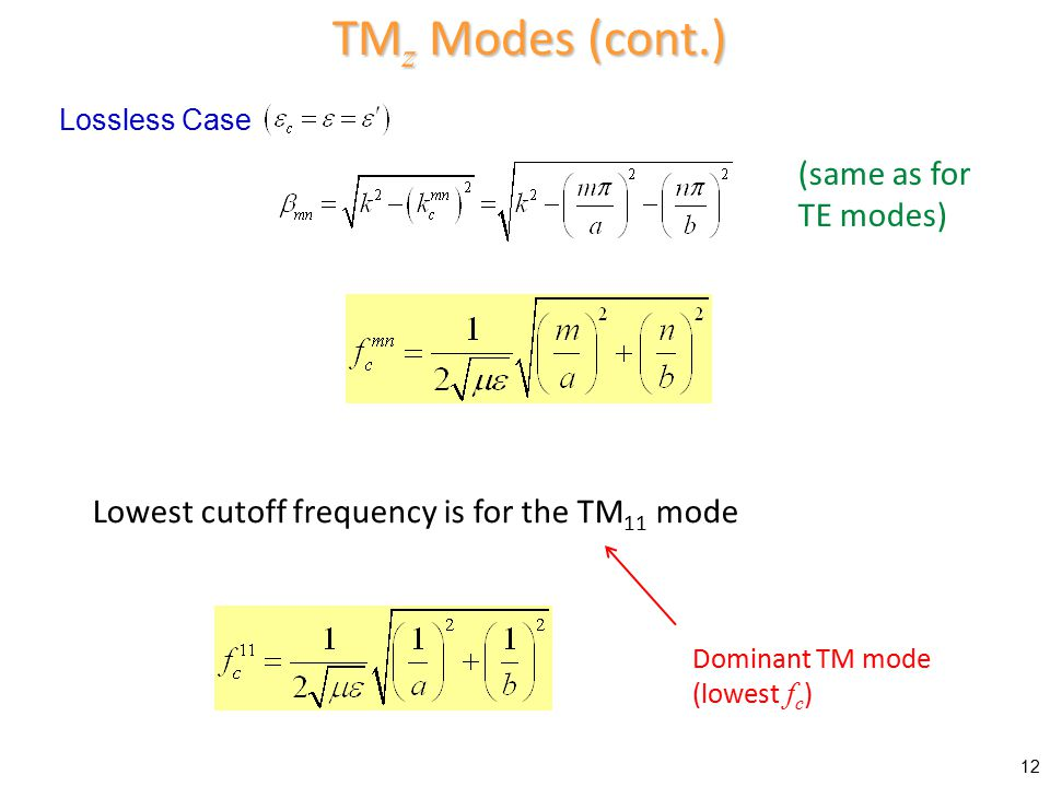 TMz Modes (cont.) (same as for TE modes)