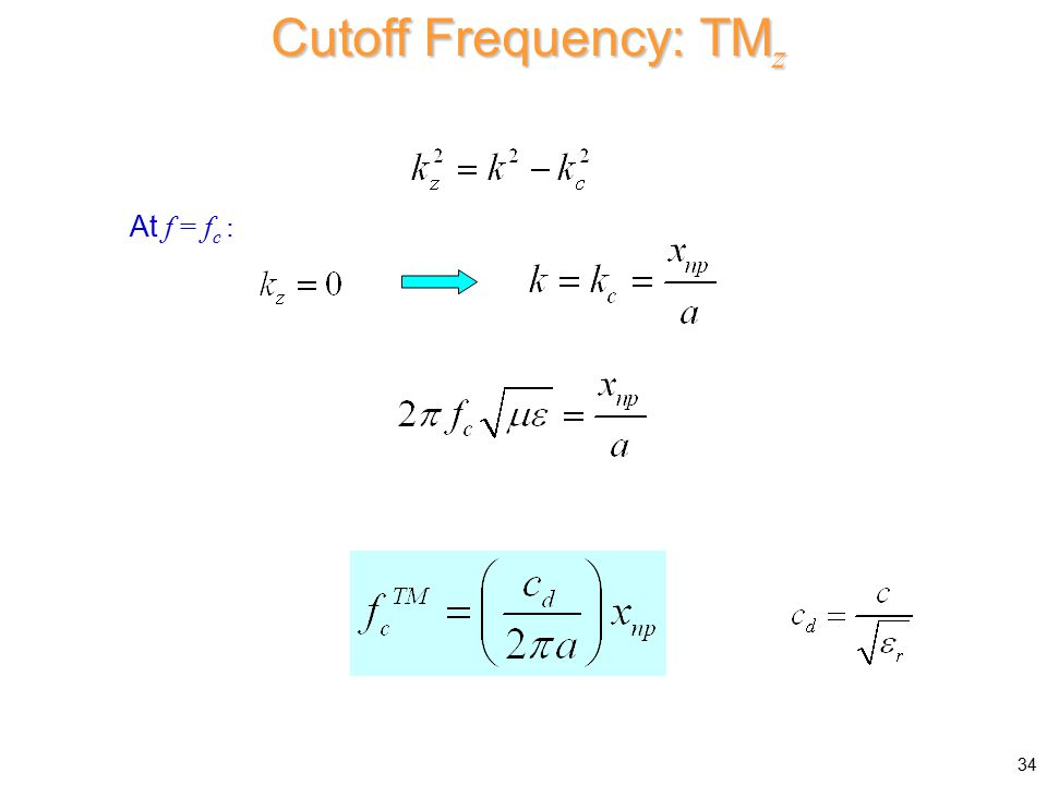 Cutoff Frequency: TMz At f = fc :