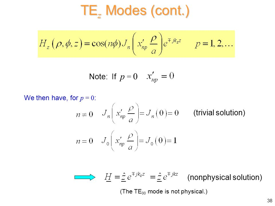 TEz Modes (cont.) Note: If p = 0 (trivial solution)