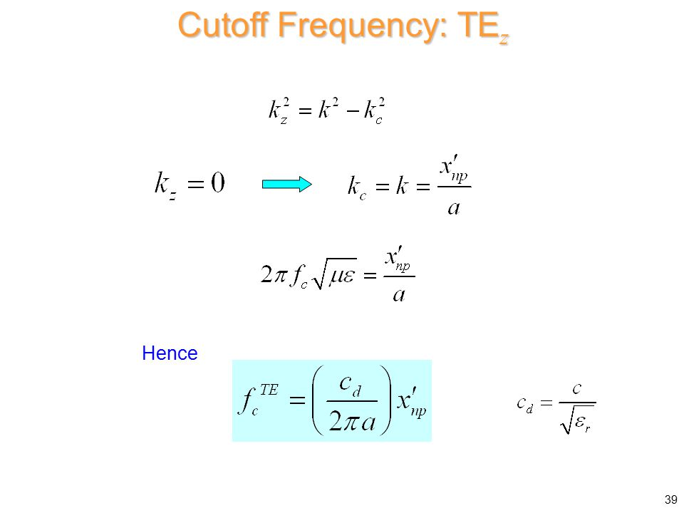 Cutoff Frequency: TEz Hence