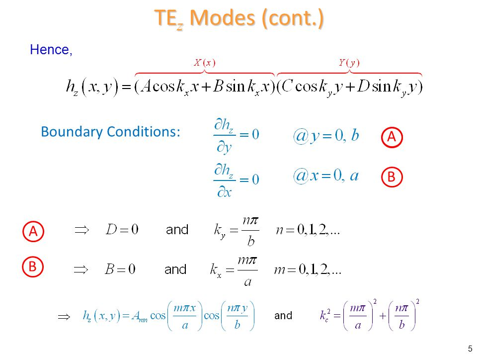TEz Modes (cont.) Hence, Boundary Conditions: A B A B