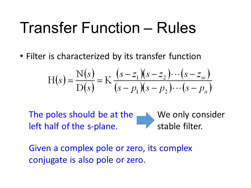 Transfer Function – Rules