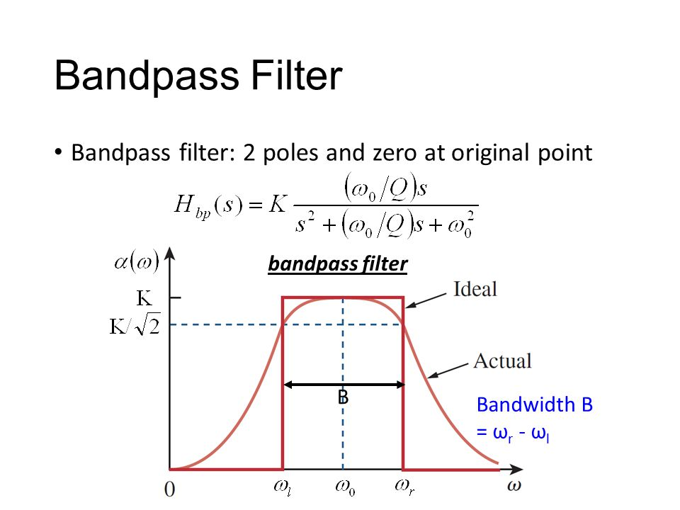 Bandpass Filter Bandpass filter: 2 poles and zero at original point