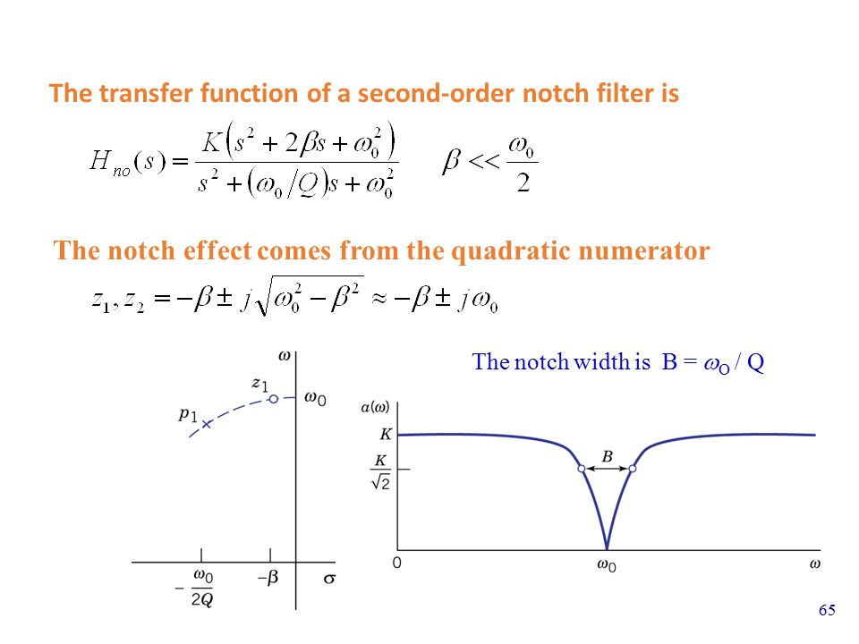 The transfer function of a second-order notch filter is