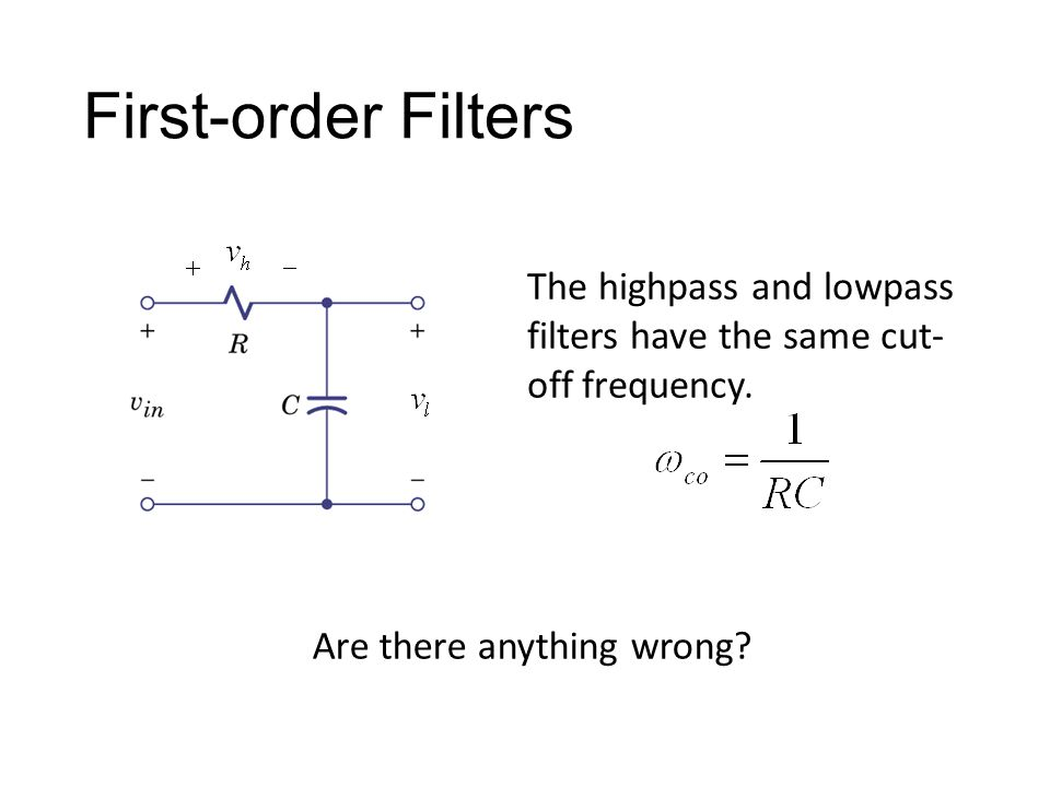 First-order Filters The highpass and lowpass filters have the same cut-off frequency.