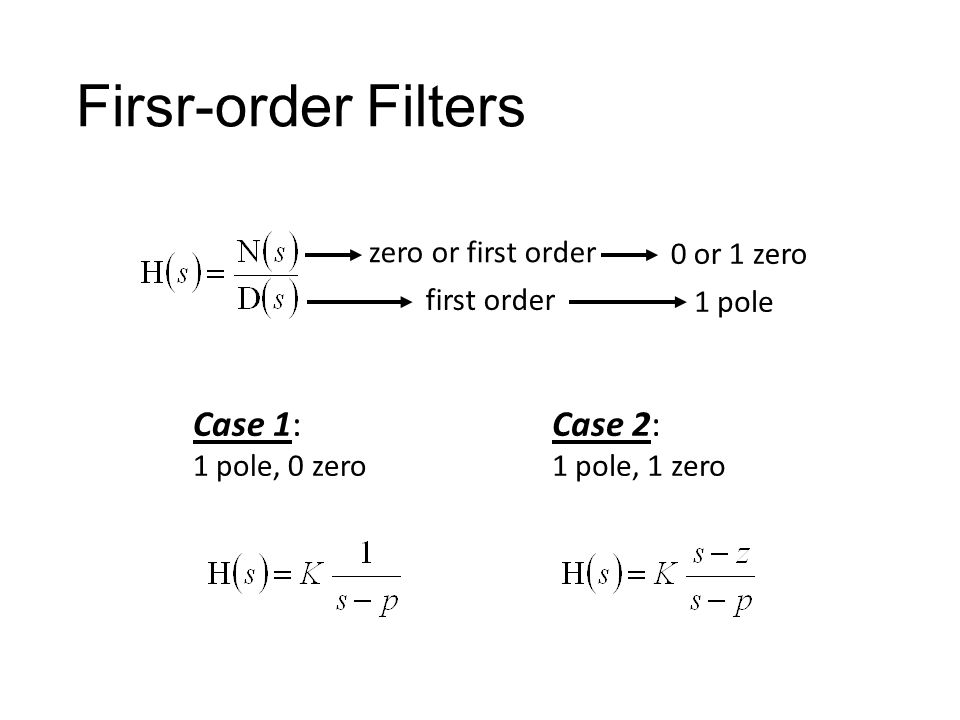 Firsr-order Filters Case 1: Case 2: zero or first order 0 or 1 zero