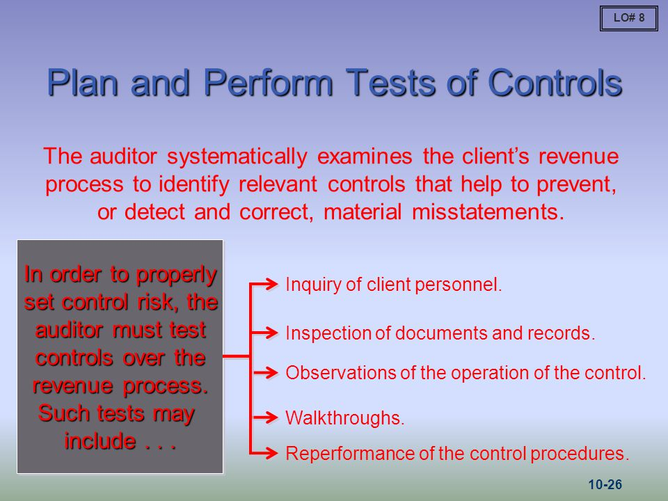 Plan and Perform Tests of Controls