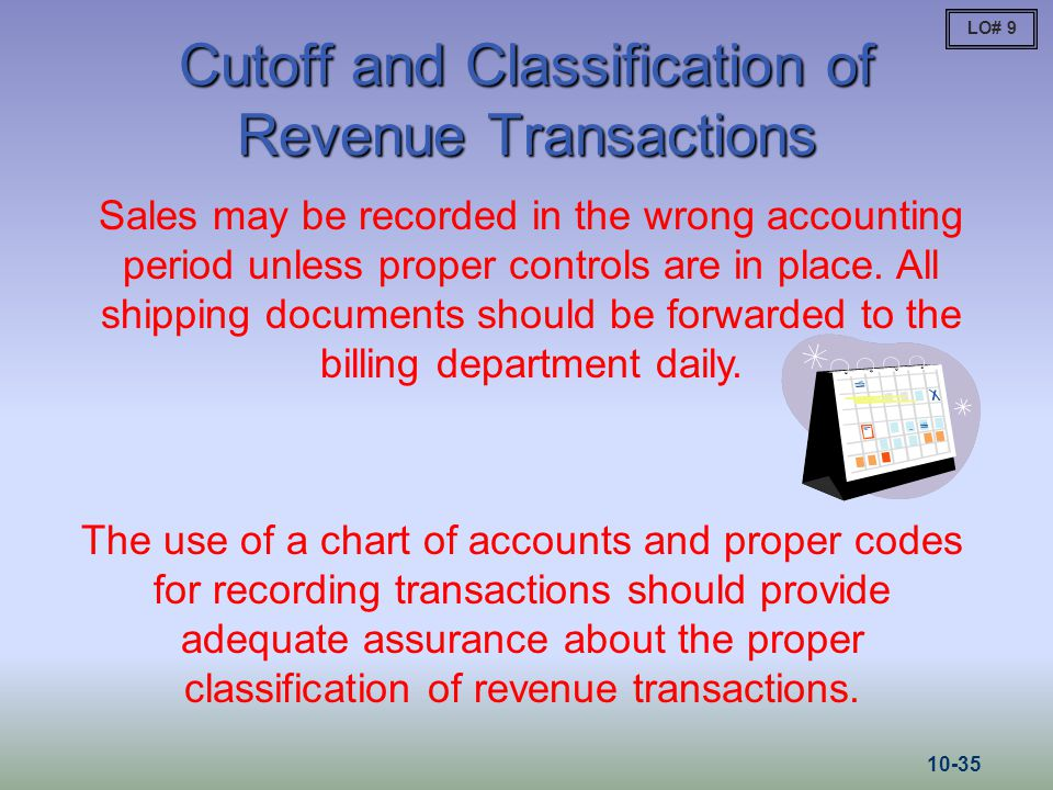 Cutoff and Classification of Revenue Transactions