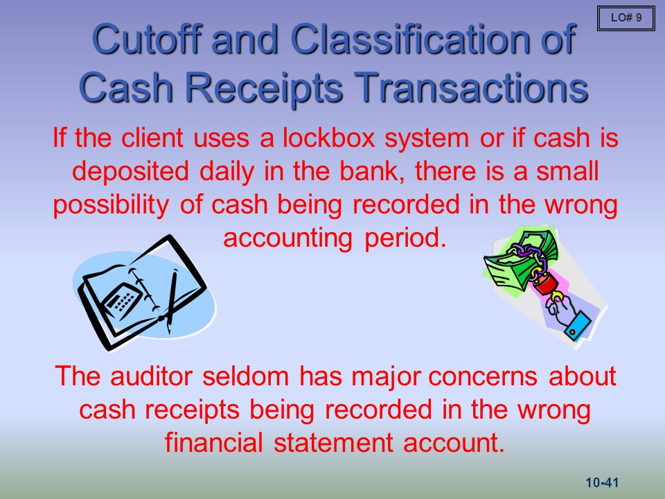 Cutoff and Classification of Cash Receipts Transactions