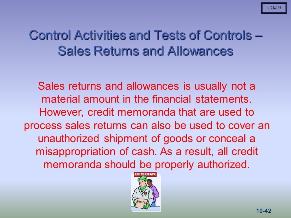 LO# 9 Control Activities and Tests of Controls – Sales Returns and Allowances.