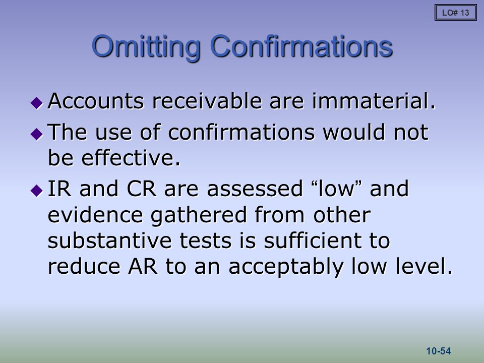 Omitting Confirmations