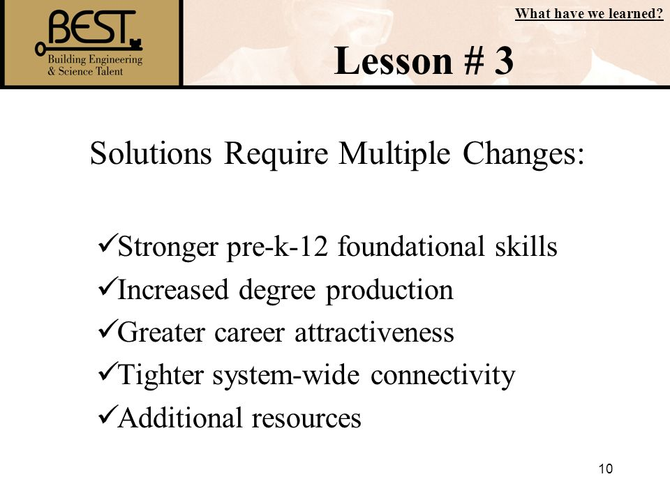 Solutions Require Multiple Changes: