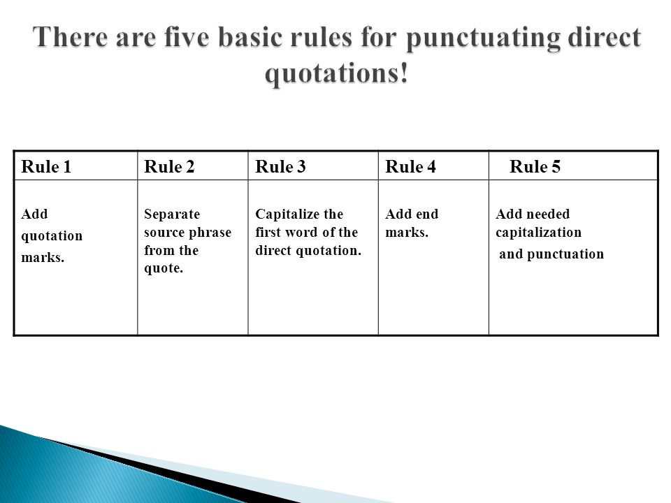 There are five basic rules for punctuating direct quotations!