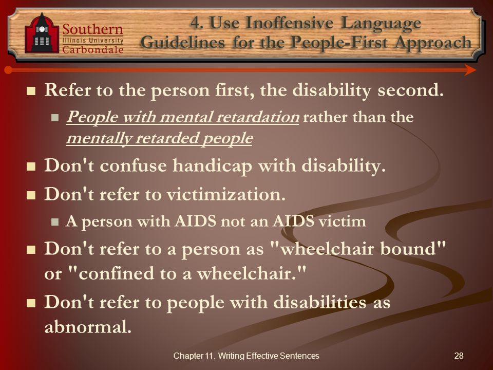 4. Use Inoffensive Language Guidelines for the People-First Approach