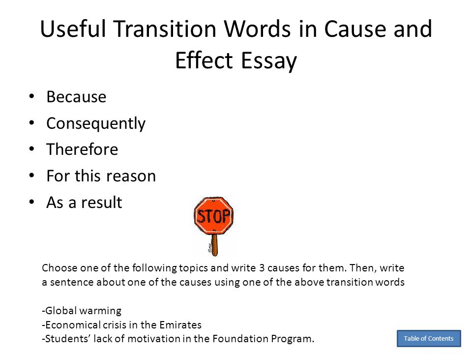 Transition words for cause and effect essay