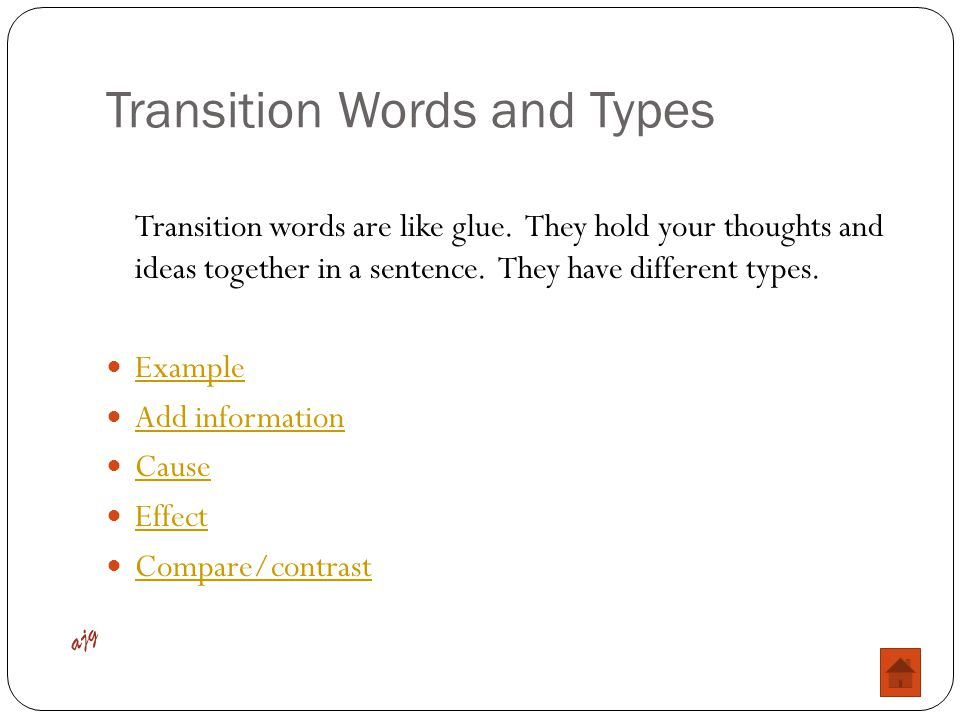 Transition Words and Types