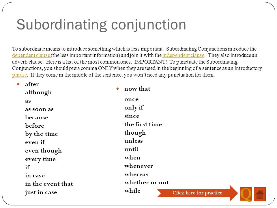 Subordinating conjunction