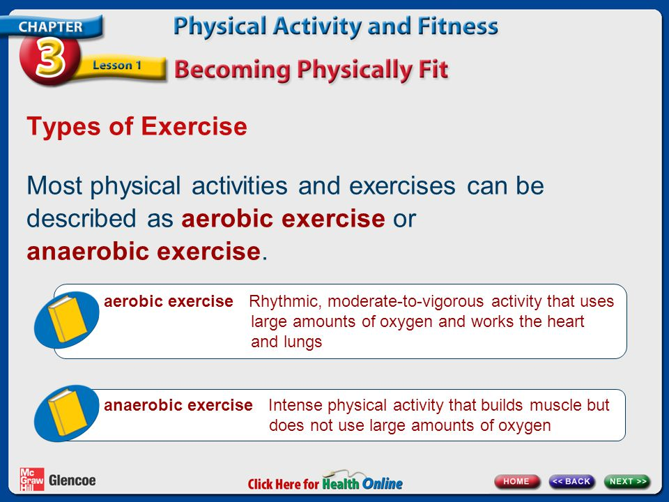 examples of anaerobic exercises and aerobic exercises