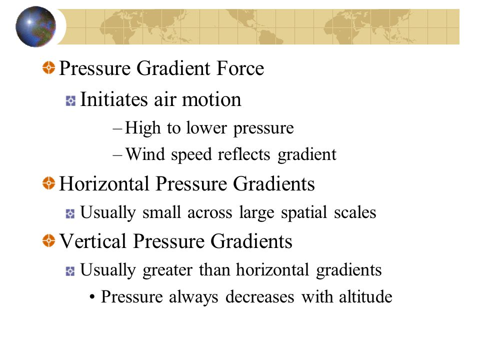 Pressure Gradient Force Initiates air motion