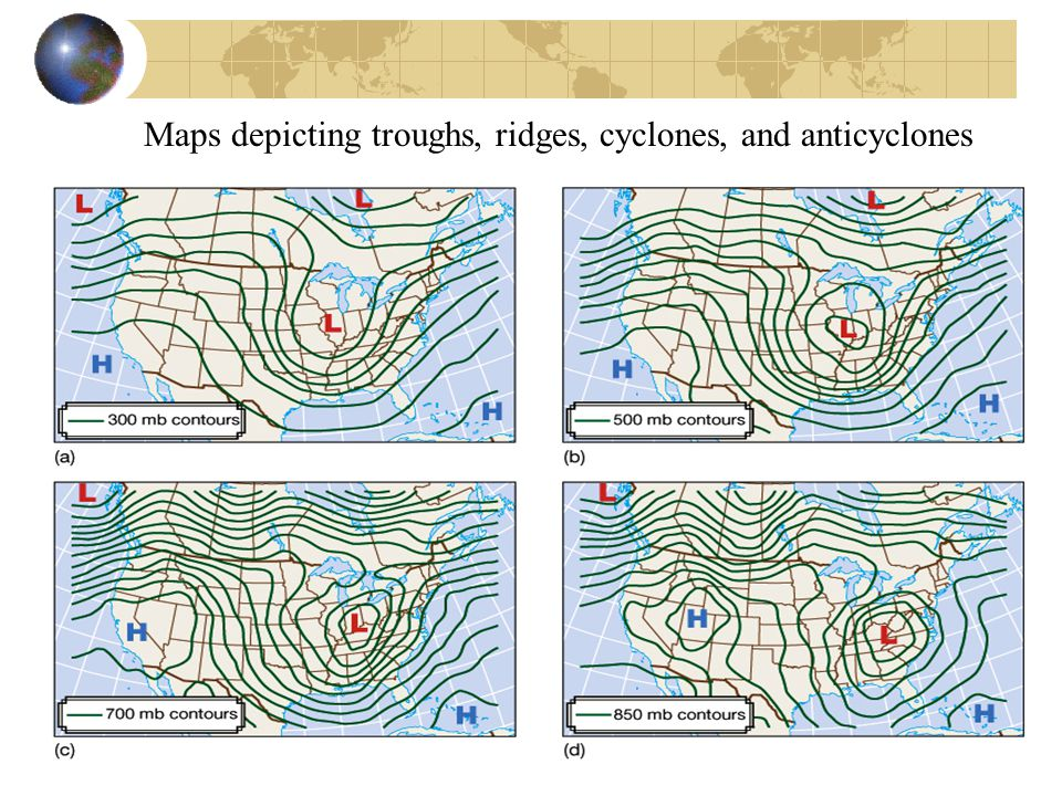 Maps depicting troughs, ridges, cyclones, and anticyclones