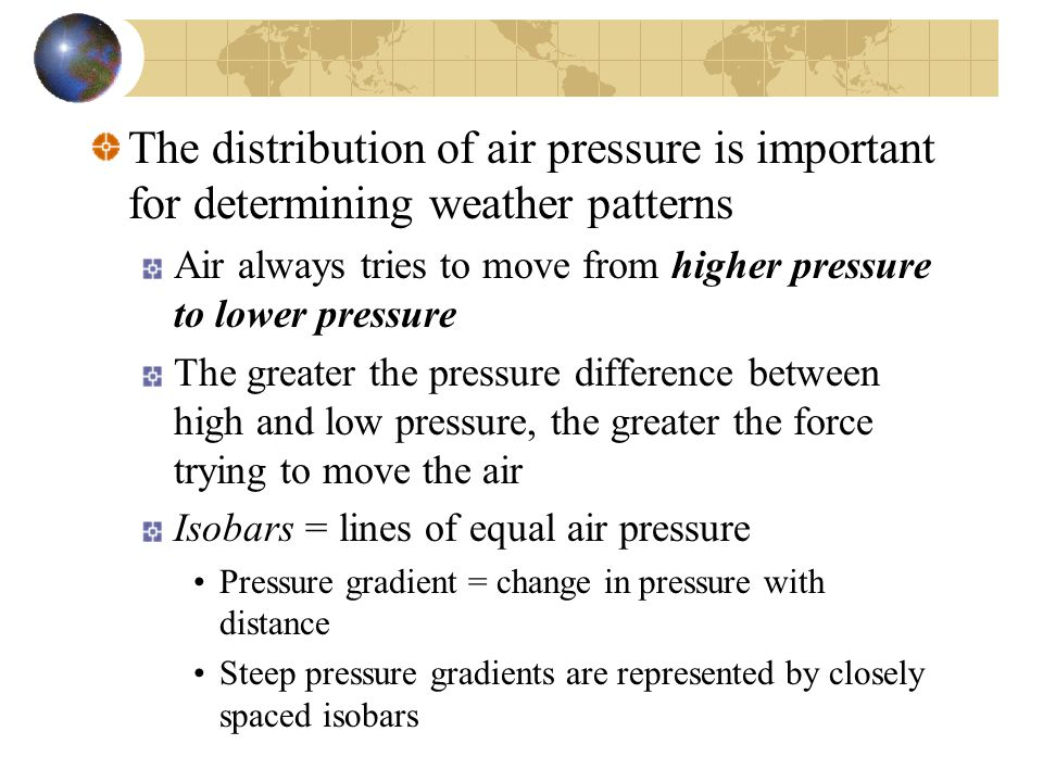 The distribution of air pressure is important for determining weather patterns