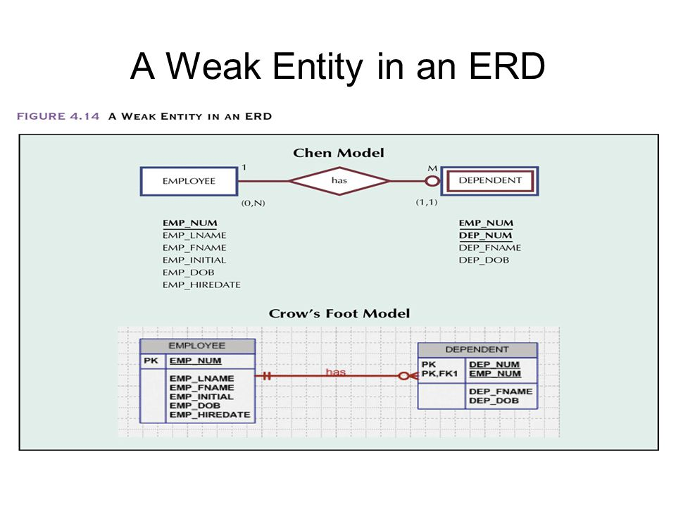Entity relationship er modeling ppt video online download 28 a weak entity in an erd ccuart Images