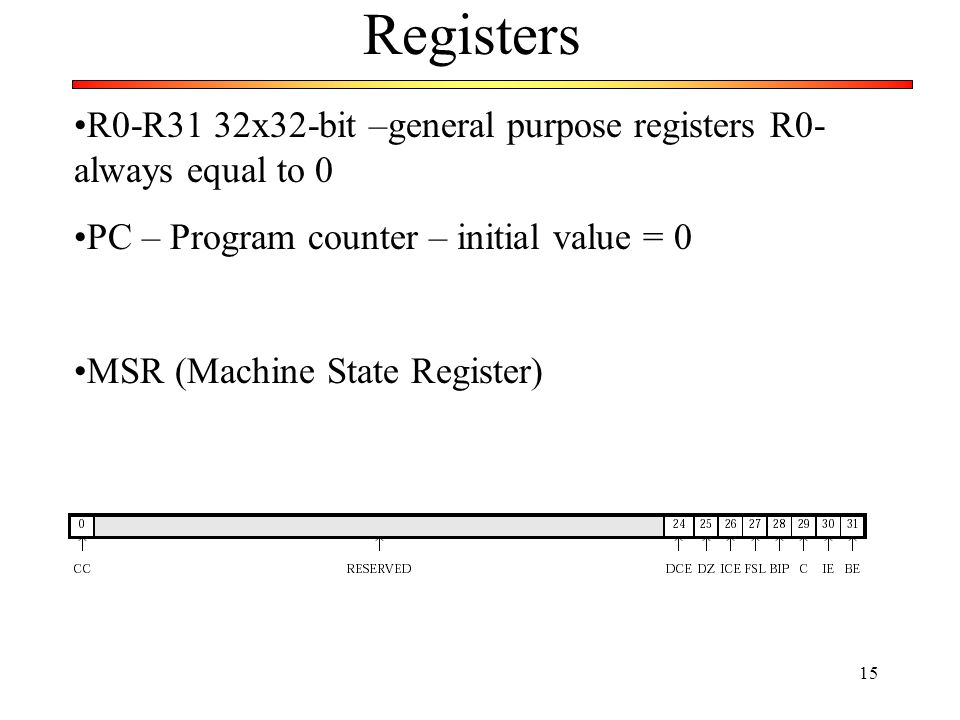 Registers R0-R31 32x32-bit –general purpose registers R0- always equal to 0. PC – Program counter – initial value = 0.