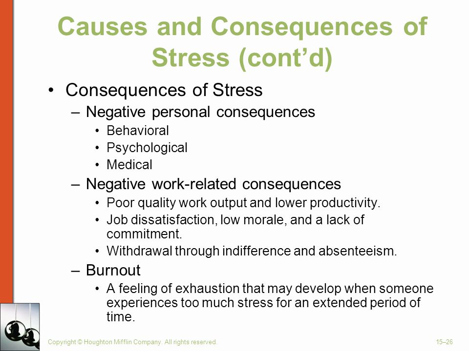 Causes and Consequences of Stress (cont'd)