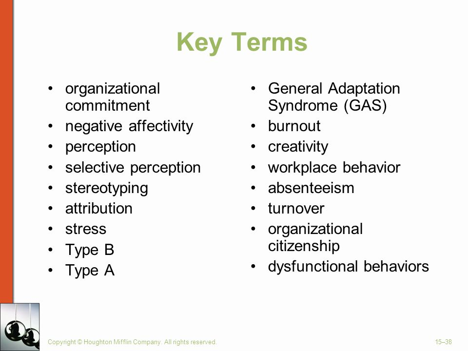 Key Terms organizational commitment negative affectivity perception