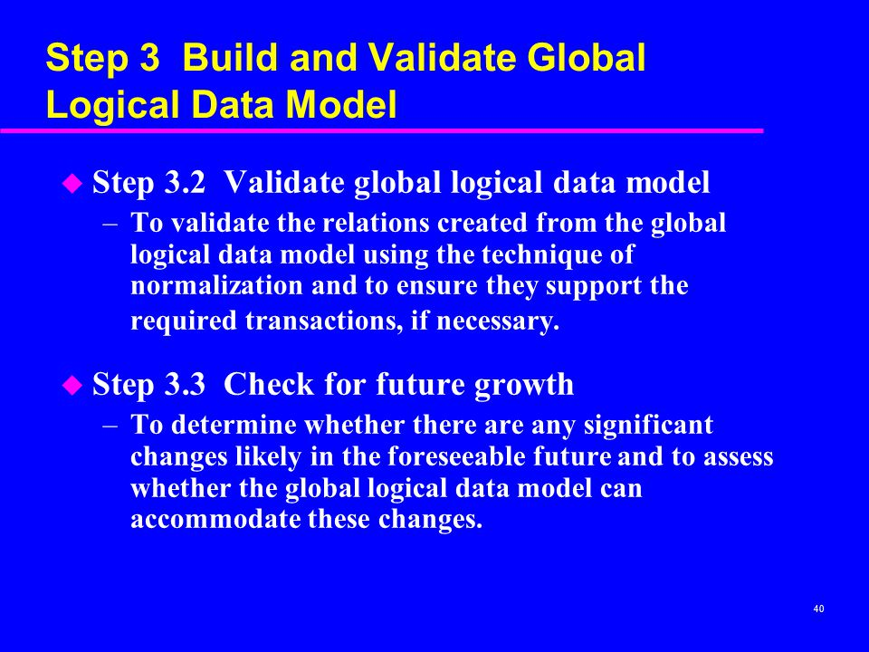 Step 3 Build and Validate Global Logical Data Model