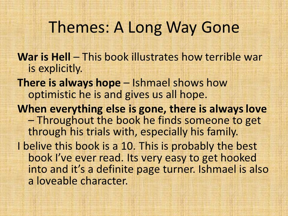 narrative reflection a long way gone by ishmael beah essay A long way gone: memoirs of a boy soldier traces the activities of ishmael beah, the author, as he tries to survice war-torn sierra leone before escaping and making his way to america at only 18.